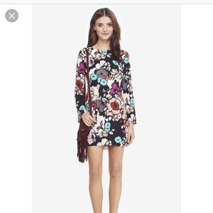 Express long sleeved floral mini dress
